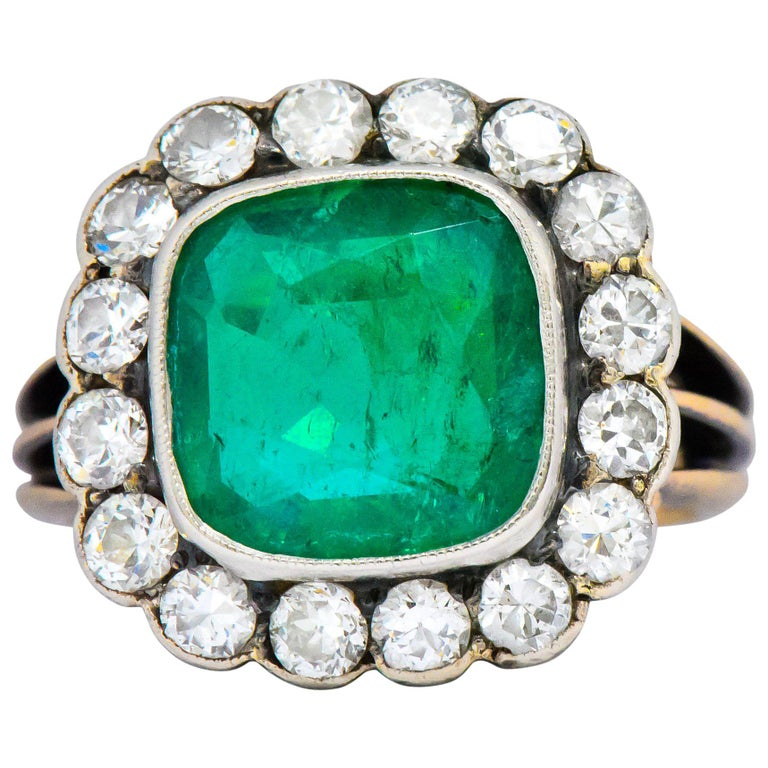 Victorian 4.85 Carat Emerald Diamond Silver-Topped 14 Karat Gold Ring circa 1880 For Sale