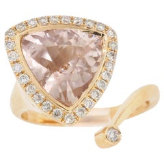 3.13 Carat Morganite and Diamond Bypass Ring