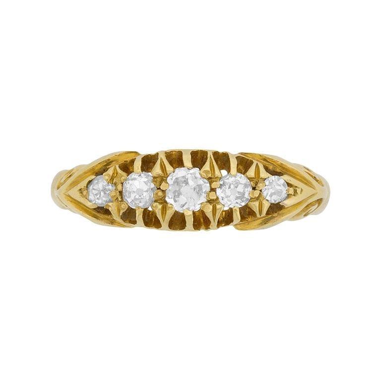 Victorian Five-Stone Diamond Ring, circa 1900s For Sale