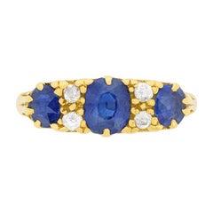 Edwardian Sapphire and Diamond Three-Stone Ring, circa 1905