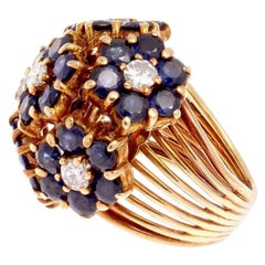 Tiffany & Co. Sapphire Diamond Gold Cocktail Ring