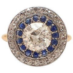 Old Mine Cut Diamond and Sapphire Halo Ring
