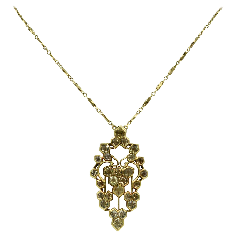 Citrine 14 Karat Yellow Gold Art Deco Pendant Necklace Antique, circa 1920