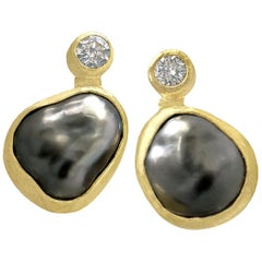 Petra Class Tahitian Keshi Pearl White Diamond Handmade Double Stud Earrings