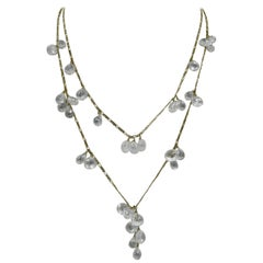 Rock Crystal 14 Karat Gold Necklace by Anzie Briolette Pear Cut Swag