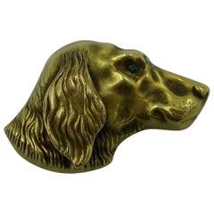 Victorian Golden Retriever Dog Emerald 14 Karat Gold Brooch Pin Riker Brothers