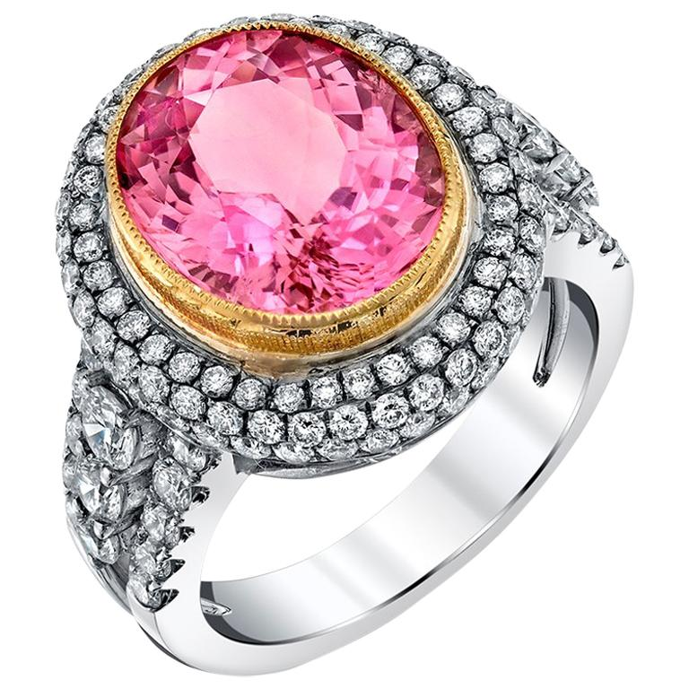 4.39 ct. Pink Tourmaline Oval, Diamond Halo 18k White Gold Bezel Band Ring For Sale