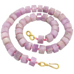 Decadent Jewels Kunzite Faceted Wheel Gold Necklace