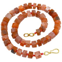 Decadent Jewels Pink Botswana Agate Faceted Wheel Gold Necklace