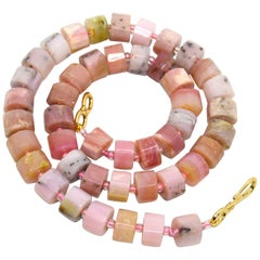 Decadent Jewels Pink Opal Faceted Wheel Gold Necklace
