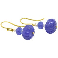 Decadent Jewels Carved Tanzanite Pearl 9 Karat Gold Earrings