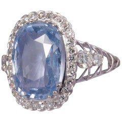 8 Carat Natural Oval Cut Sapphire Ring