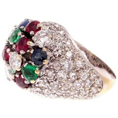French 1950s Diamond Emerald Ruby Sapphire Tutti Fruti Gold Cocktail Ring