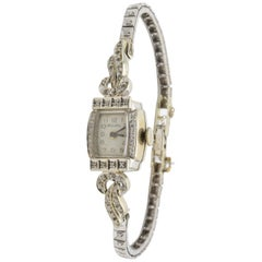 Lady Watch Diamond 14 Karat White Gold Bulova 1950