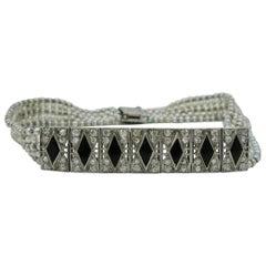 Art Deco Diamond Black Onyx Platinum Pearl Bracelet, circa 1910