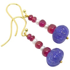 Decadent Jewels Carved Tanzanite Burmese Ruby Pearl 9 Karat Gold Earrings