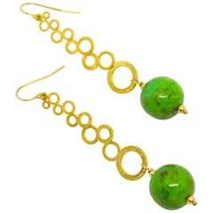 Decadent Jewels Mojave Green Turquoise Gold Multi Circle Earrings