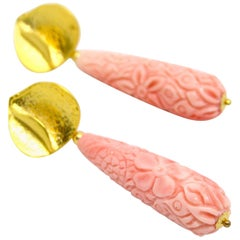 Decadent Jewels Carved Pink Shell Gold Lotus Stud Earrings
