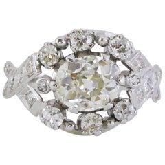 Art Deco Platinum 1.31 Carat Old-Cut Diamond Cocktail Ring