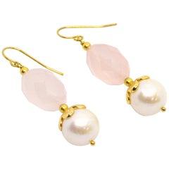 Decadent Jewels Rose Quartz Pearl Gold Earring
