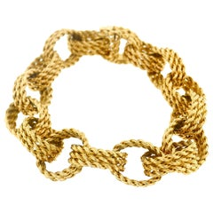 Tiffany & Co. France Yellow Gold Textured Link Bracelet