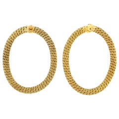 Georges L'Enfant French Yellow Gold Woven Textured Hoop Earrings