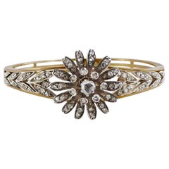 1880s French Rose Cut G-Color VS-SI Diamond Bangle