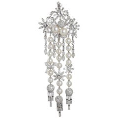 Art Deco 1950s Diamond Pearl Lavish Chandelier Pendant 14 Carats