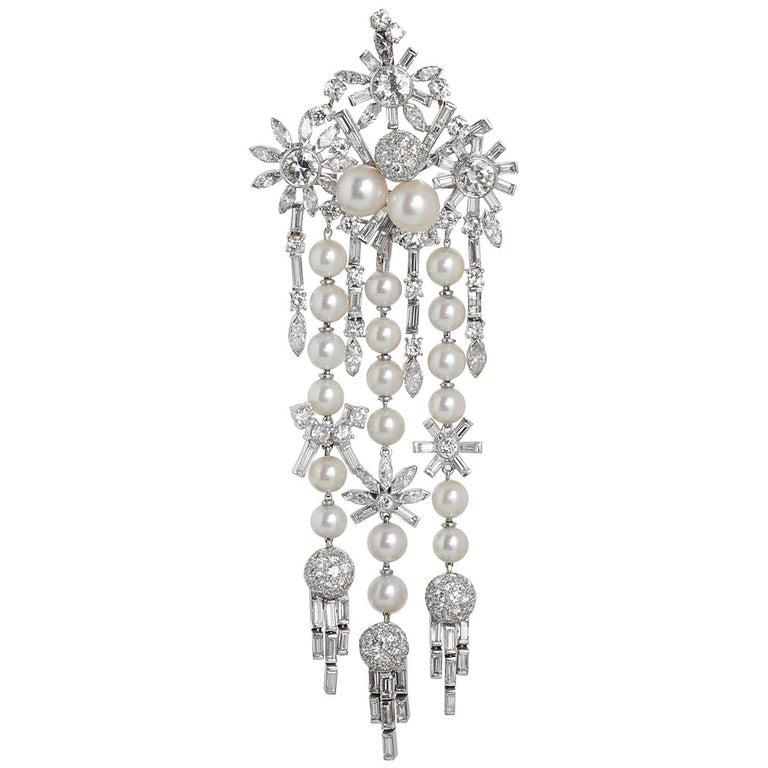 Art Deco 1950s Diamond Pearl Lavish Chandelier Pendant