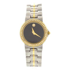 Ladies Movado Museum Bubble 18 Karat Gold-Plated, SS and Diamond Watch