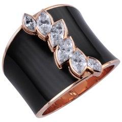 0.92 Carat White Diamond 18 Karat Rose Gold Enamel Plated Irene Ring