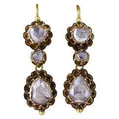 Georgian 18 Carat G-SI Rose Cut Diamond 'Day and Night' Earrings, circa 1700s