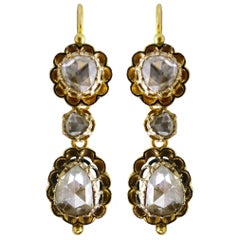 Georgian 18 Carat G-SI Rose Cut Diamond 'Day and Night' Earrings, circa 1700s