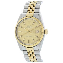 Rolex Oyster Perpetual Datejust 16013 Linen Dial Men's Watch