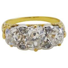 3 Carat Old European Cut Diamonds circa 1880s Three-Stone