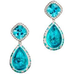 18 Karat White Gold Paraiba Tourmalines 14.49 Carat Diamond Entourage Earrings