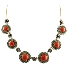 Diamonds, Blue Sapphires, Red Rubrum Coral Rose Gold and Silver Link Necklace