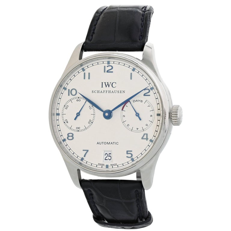 IWC Portuguese IW500107 7 Day Reserve Men's Watch For Sale