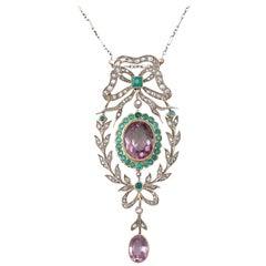Antique 9.88 Carat Amethyst, 1.25 Carat Emerald, 1.13 Carat Diamond Gold Pendant
