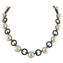 0.56 Carat Diamonds, 6 G Onyx Rings, 17.4 G Pearls Gold Silver Link Necklace