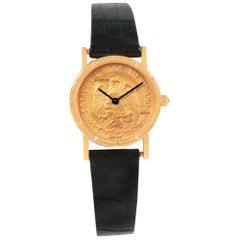 Corum Yellow Gold 10 Pesos Coin Year 1959 Diamond Ladies Watch