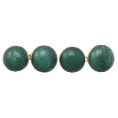 Antique Moss Agate and Yellow Gold Cufflinks, circa 1920