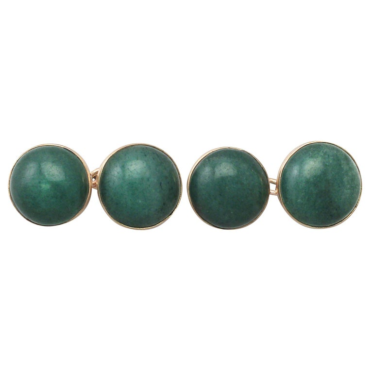 Antique Moss Agate and Yellow Gold Cufflinks, circa 1920 For Sale