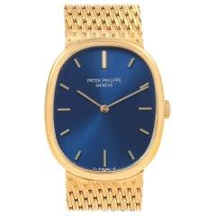 Patek Philippe Golden Ellipse 18 Karat Yellow Gold Blue Dial Men's Watch 3548