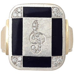 Vintage Diamond and Black Enamel Yellow Gold Ring, circa 1940