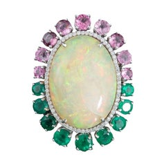 18K gold, Ethiopian Opal, Spinel and Emerald and diamond Pendant