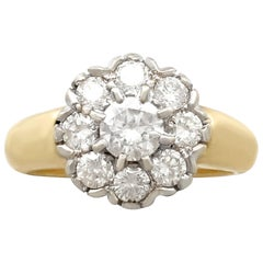 French 1.15 Carat Diamond Gold Cluster Ring