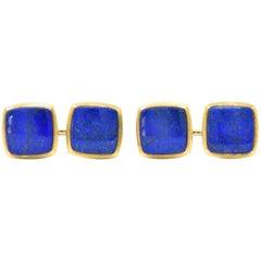 Art Nouveau Lapis Lazuli 14 Karat Gold Men's Cufflinks