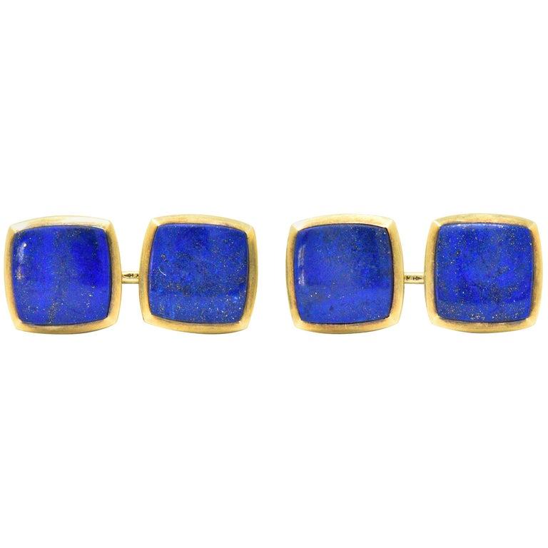 Art Nouveau Lapis Lazuli 14 Karat Gold Men's Cufflinks For Sale