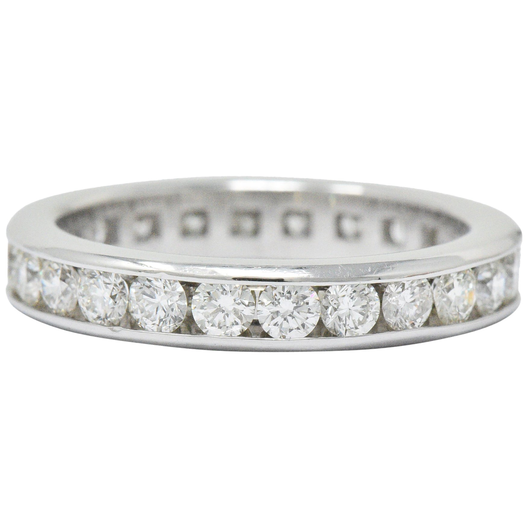 Contemporary 2.40 Carats Diamond Platinum Channel Eternity Band Ring